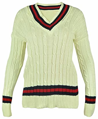 cd7aff6fd32 New Ladies V Neck Cable Knitted Cricket Jumper Womens Stretch Long Sleeve  Stripe Top  Amazon.co.uk  Clothing