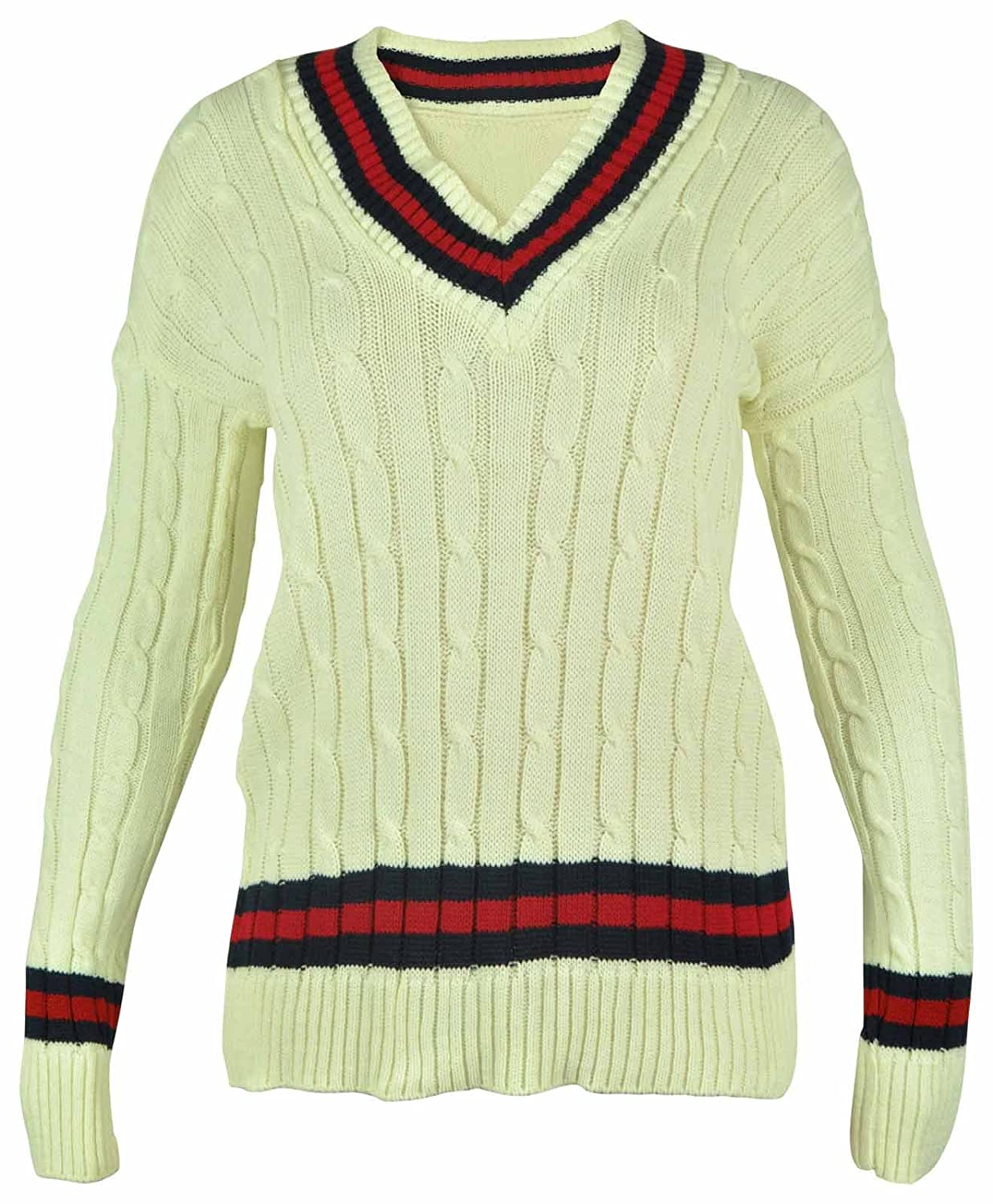 51e2d580e New Ladies V Neck Cable Knitted Cricket Jumper Womens Stretch Long ...