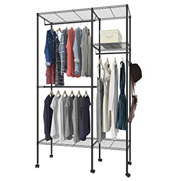 Superieur Keland Wire Shelving Rolling Clothing Rack, Wardrobe Closet, Garment Rack  With Hanging Rods,