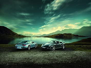 Porsche 911 Turbo S Car Art Poster Print on 10 mil Archival Satin Paper Blue Duo