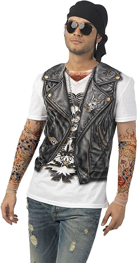 Elbenwald Camiseta de Disfraz Fun Biker Rocker Motorista para ...
