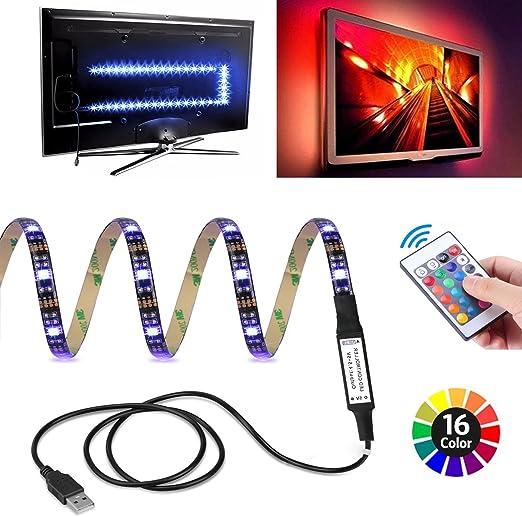 Tira led RGB - Tira LED USB Retroiluminación LED de TV - Tiras LED RGB 2m Impermeable Con Control Remoto Para TV de 40 A 60 Pulgadas HDTV, Monitor De PC: Amazon.es: Iluminación