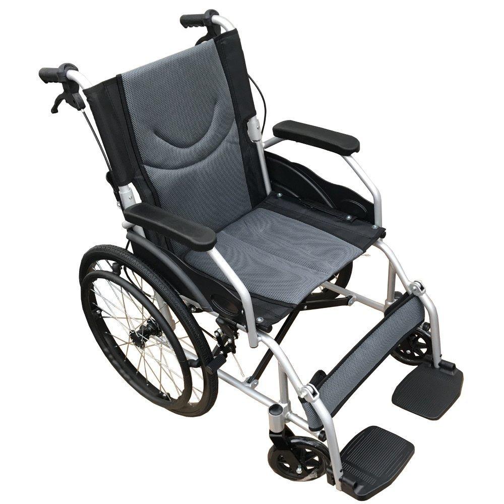 【非課税】【高級感のあるブラック】Nice Way(ナイスウェイ) 自走式折りたたみ 車椅子【座面幅約46cm】【ゆったりサイズ】【簡易式】【ノーパンクタイヤ】【自走式、介護介助兼用】【介助ブレーキ付き】 (ブラック) B074JGB6MZ  ブラック