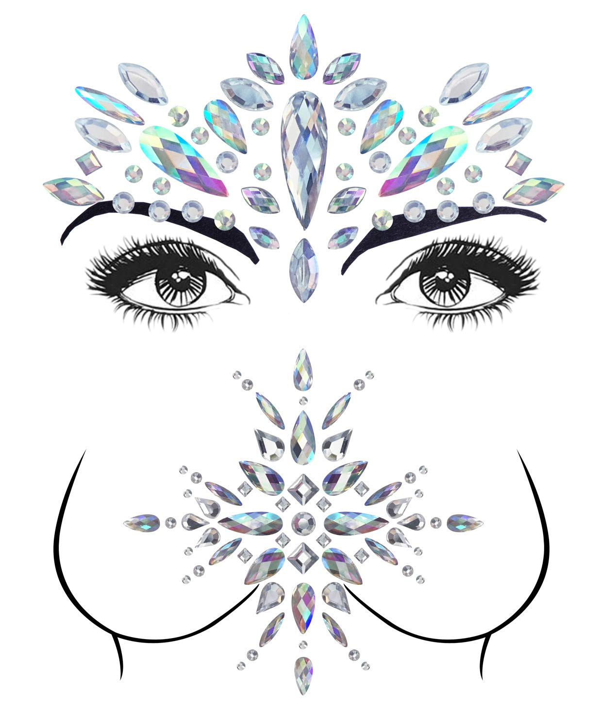 2 Sets Mermaid Face Gems Rhinestone Tattoo Festival Jewels Face Chest Forehead Body Temporary Tattoos Glitter Crystal Tattoos Bindi Breast Chest Body Rhinestone Stickers by YHmall
