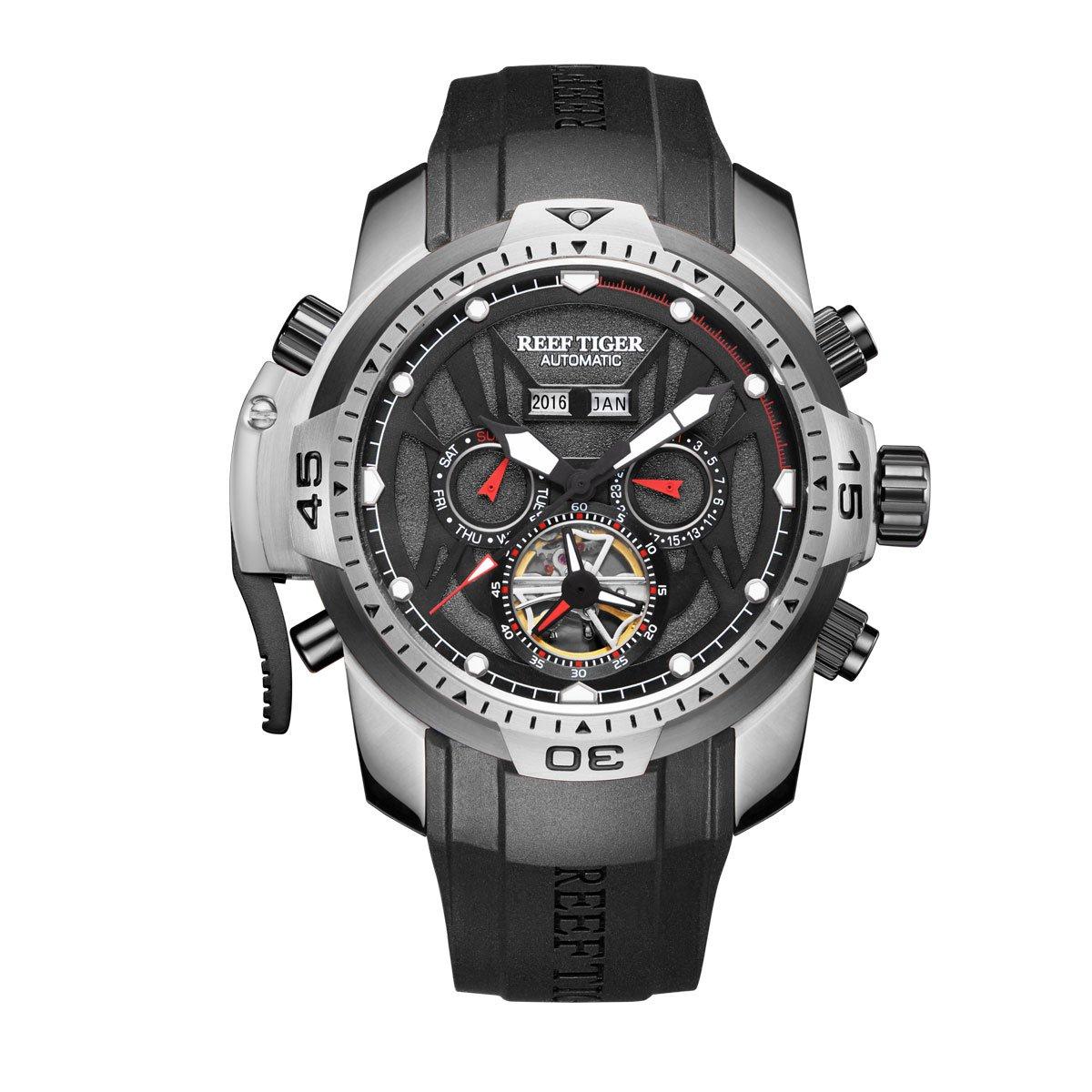 Reef TigerメンズスポーツウォッチステンレススチールケースゴムストラップMilitary Watches rga3532 RGA3532-YBBO B07F846JYW  RGA3532-YBBO