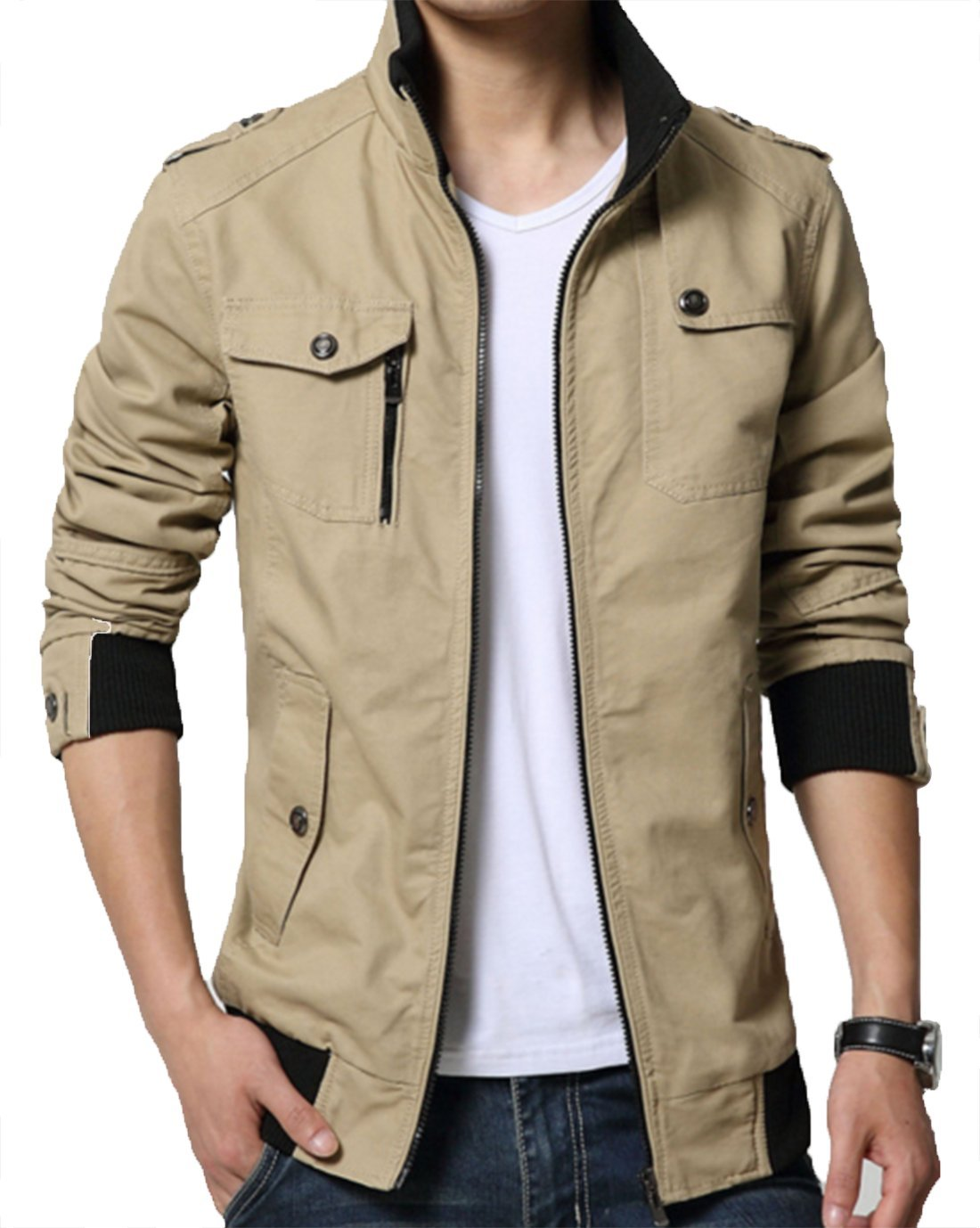 XueYin Men's Solid Cotton Casual Wear Stand Collar Jacket(Khaki,L Size)