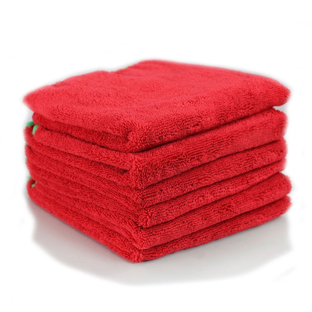 Professional Grade Miracle Microfiber Towel TAGLESS, Red (24 in. x 16 in.) (Pack of 6) (red with green trim)