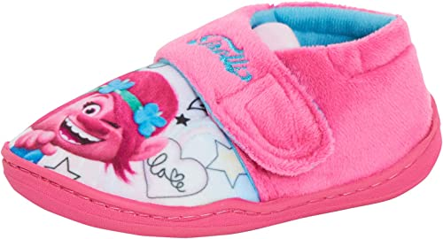 Kids//Childrens Purple Pink White Trolls Poppy Hair Slippers Girls Mules Size 7-1