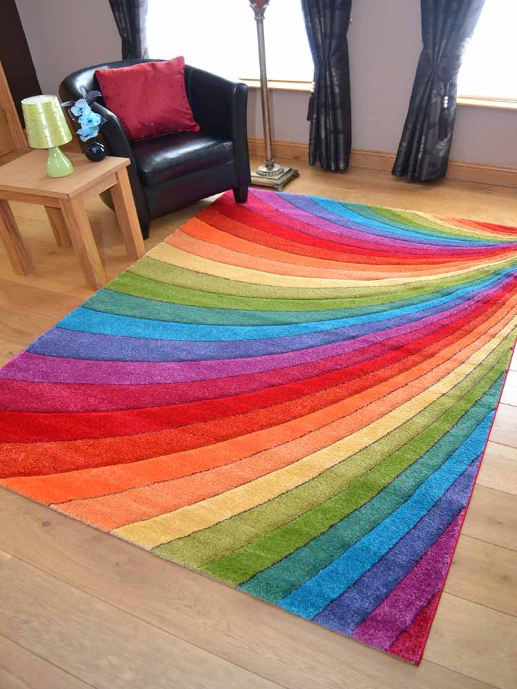 Candy Multicoloured Rainbow Design Rug. Available in 6 Sizes (67cm x 120cm) Rugs Supermarket