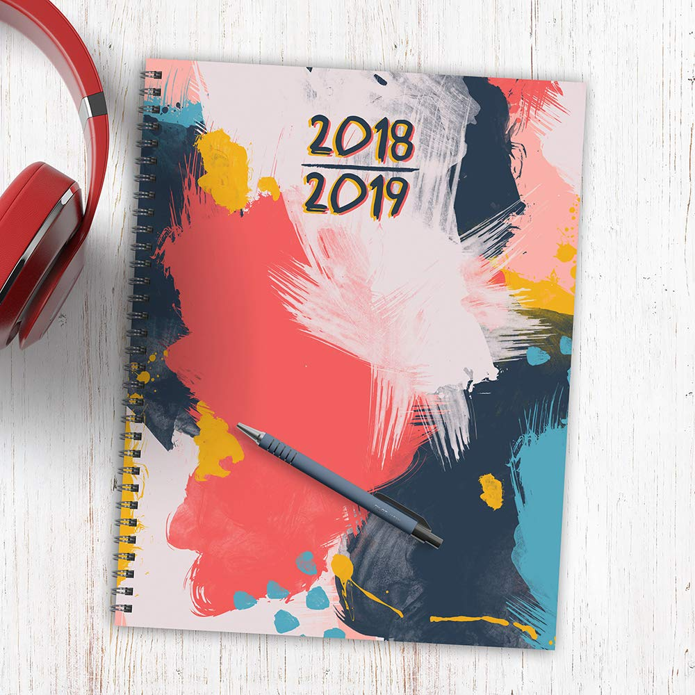 tf publishing 19 9715a july 2018 june 2019 abstract large weekly monthly planner 9 x 11 pink blue gold