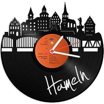 Skyline hamelín Reloj de pared vinilo Reloj Tocadiscos de vinilo Reloj upcycling Design Reloj de pared de decoración vintage de reloj de pared Decoración ...