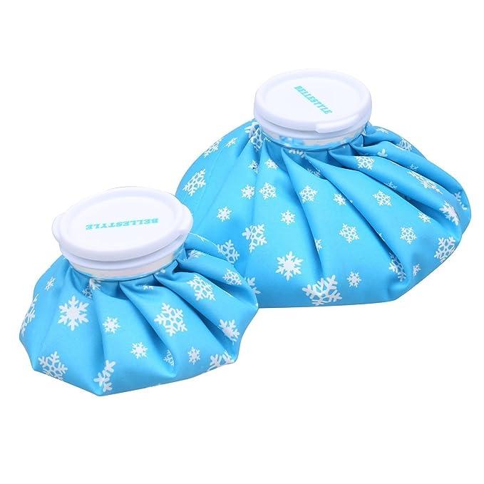 bellestyle caliente y frío reutilizable alivio dolor lesiones hielo bolsa primeros auxilios para deporte azul copo de nieve