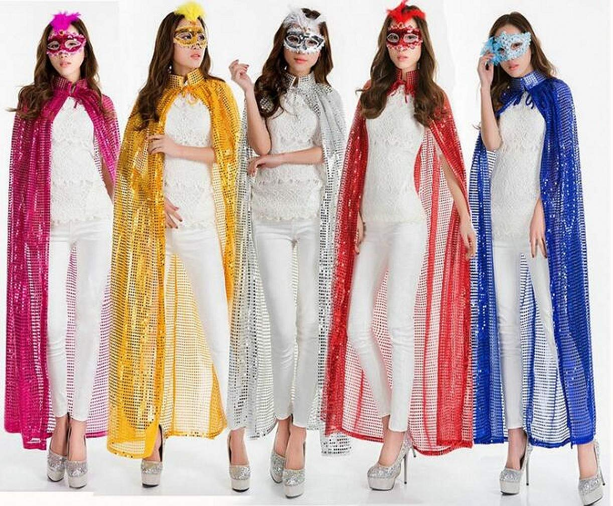 WellieSTR 5 Color Halloween Party Festival Magic Cosplay Sequin Costume Cloak Cape Robe Outwear