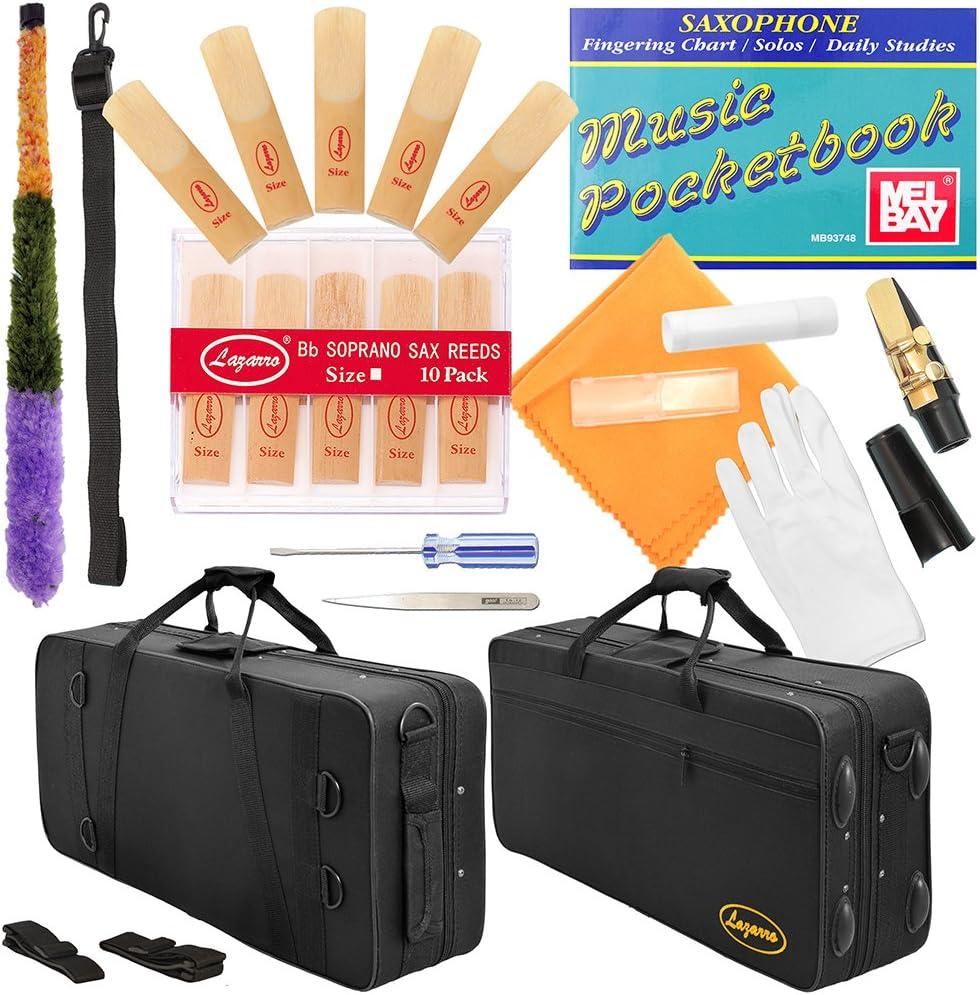 CHOOSE YOURS ! BLACK//GOLD Keys Curved Bb Soprano Saxophone Lazarro++11 Reeds,Music Pocketbook,Case,Care Kit SILVER or GOLD KEYS 320-BK 24 COLORS