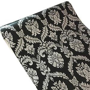 BESTERY Vintage Black Damask Adhesive Paper Shelf Liner Peel & Stick Dresser Drawer Sticker Home Deco Wallpaper 17.7inch by 100inch (WZ-B)