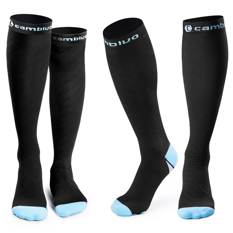 CAMBIVO 2 Pairs Compression Socks for Women & Men, Fit for Running, Athletic Sports, CrossFit, Flight, Travel, Pregnancy, Nurses (20-30 mmHg)(2 Pair-S/M (Women 5.5-8.5 / Men 5-9), Stylish/Blue)
