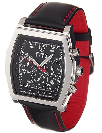 DeTomaso DT1011-A - Reloj cronógrafo de caballero de cuarzo con correa de piel negra (cronómetro) - sumergible a 50 metros: Amazon.es: Relojes