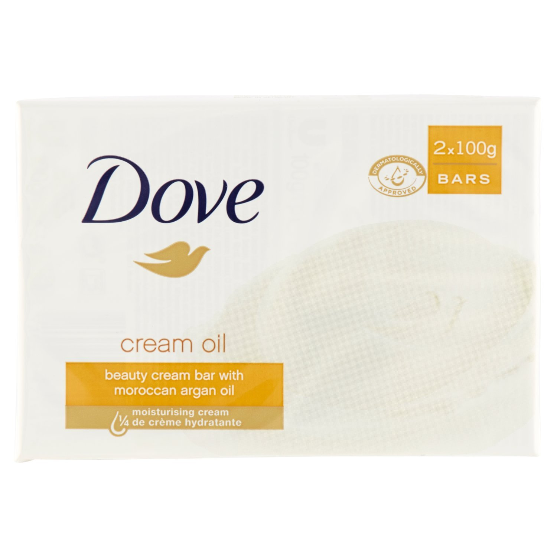 "Dove:""Cream Oil"" Beauty Cream Bar with Moroccan Argan Oil 3.5 Ounces (100g) Bars (Pack of 2) [ Italian Import ]"