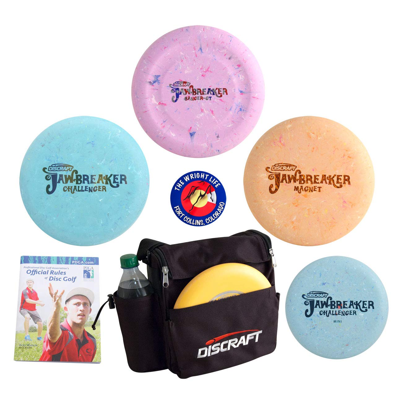 Discraft Jawbreaker Putter Disc Golf Gift Set - 3 Discs + Weekender Bag, Sticker, Rules Book (7 Items, Colors May Vary) by Discraft
