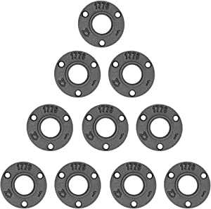 Brooklyn Pipe 10 Pack 1 Inch Floor Flanges | 1 Inch Threaded Flange | Iron Metal Flange | Industrial Pipe Decor | Iron Flange Pipe Fittings (10 Pack)