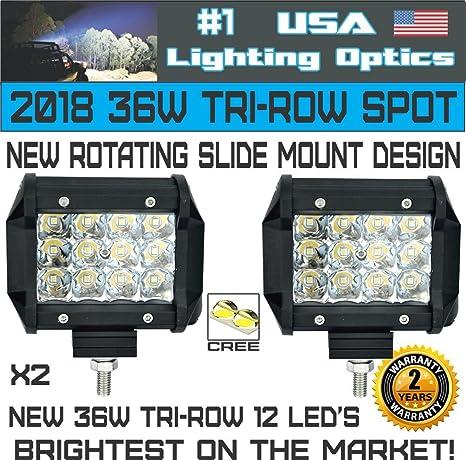 4X 4/'/'inch Work Cube LED Light Bar Spot Tri-Row Driving Fog Pod Light For Pickup
