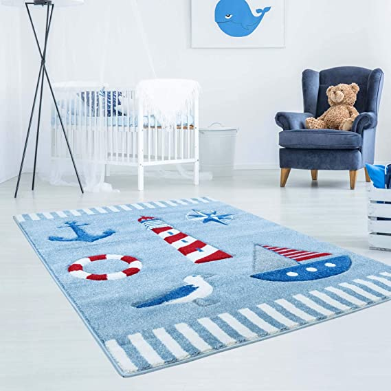 Carpet City Bueno Children S Rug Maritime Anchor Ship Seagull In Blue Red With Contour Cut For Children S Room Size 140 X 200 Cm 140 X 200 Cm Amazon Co Uk Kitchen Home