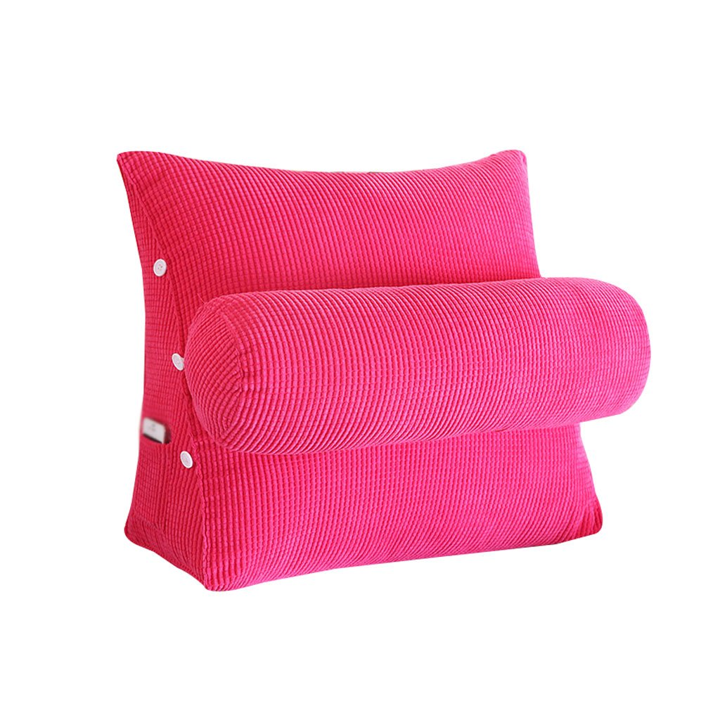 HN Bed pillows Corduroy Bed Triangle Pillow With Headrest Sofa Bed Headrest Lumbar Pillow Backrest Waist Pads Bay Window Cushion Back Office Pillow (Color : Pink, Size : 45cm22cm40cm)