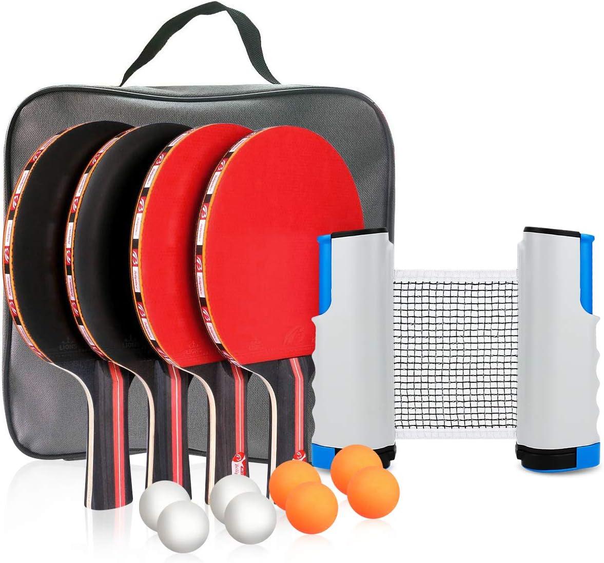 Powcan Conjunto de Tenis de Mesa con Red, 4 Raquetas + 8 Bolas/Pelotas de Tenis de Mesa + 1 Red Retráctil, Juego de Tenis de Mesa Portátil para Interior al Aire Libre