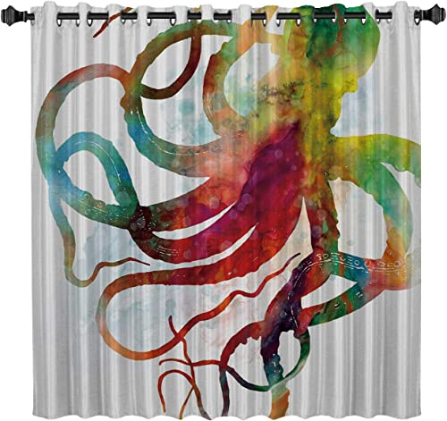 GreaBen Blackout Window Curtains Room Darkening Curtains Colorful Octopus Art Ocean Animal Window Curtain Panel