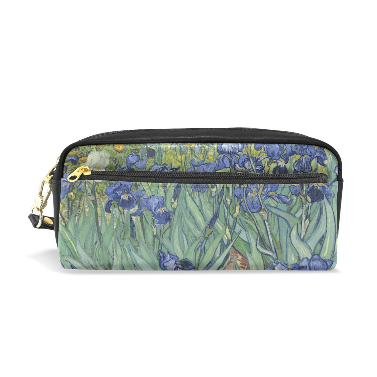 My Little Nest Van Gogh Oil Painting Irises Cosmetic Makeup Bag Pencil Case Multi Function School Office Organizer Bag with Zipper Closure