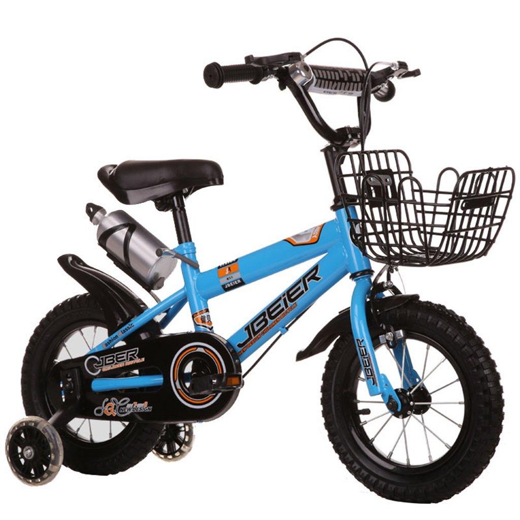 KANGR-子ども用自転車 子供の自転車3-6-8男の子と女の子子供のおもちゃ屋外マウンテンバイクのハンドルバーとサドルは、フラッシュトレーニングホイールで調整可能な高さにすることができますウォーターボトルとホルダー 12/14/16/18インチ ( 色 : 青 , サイズ さいず : 12-inch ) B07BTMJZYY 12-inch|青 青 12-inch