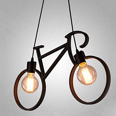 Lámpara colgante de bicicleta de artesanía de hierro SYAODU Lámpara de techo de restaurante E27 Estilo industrial Iluminación decorativa AC110-240V ...
