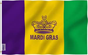 Anley Fly Breeze 3x5 Foot Mardi Gras Flag Happy Carnival Decoration - Vivid Color and Fade Proof - Canvas Header and Double Stitched - Fat Tuesday Flags Polyester with Brass Grommets 3x5 Ft