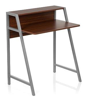 Schreibtisch holz klein  hjh OFFICE 634721 Schreibtisch Dumont Holz Walnuss/Silber ...