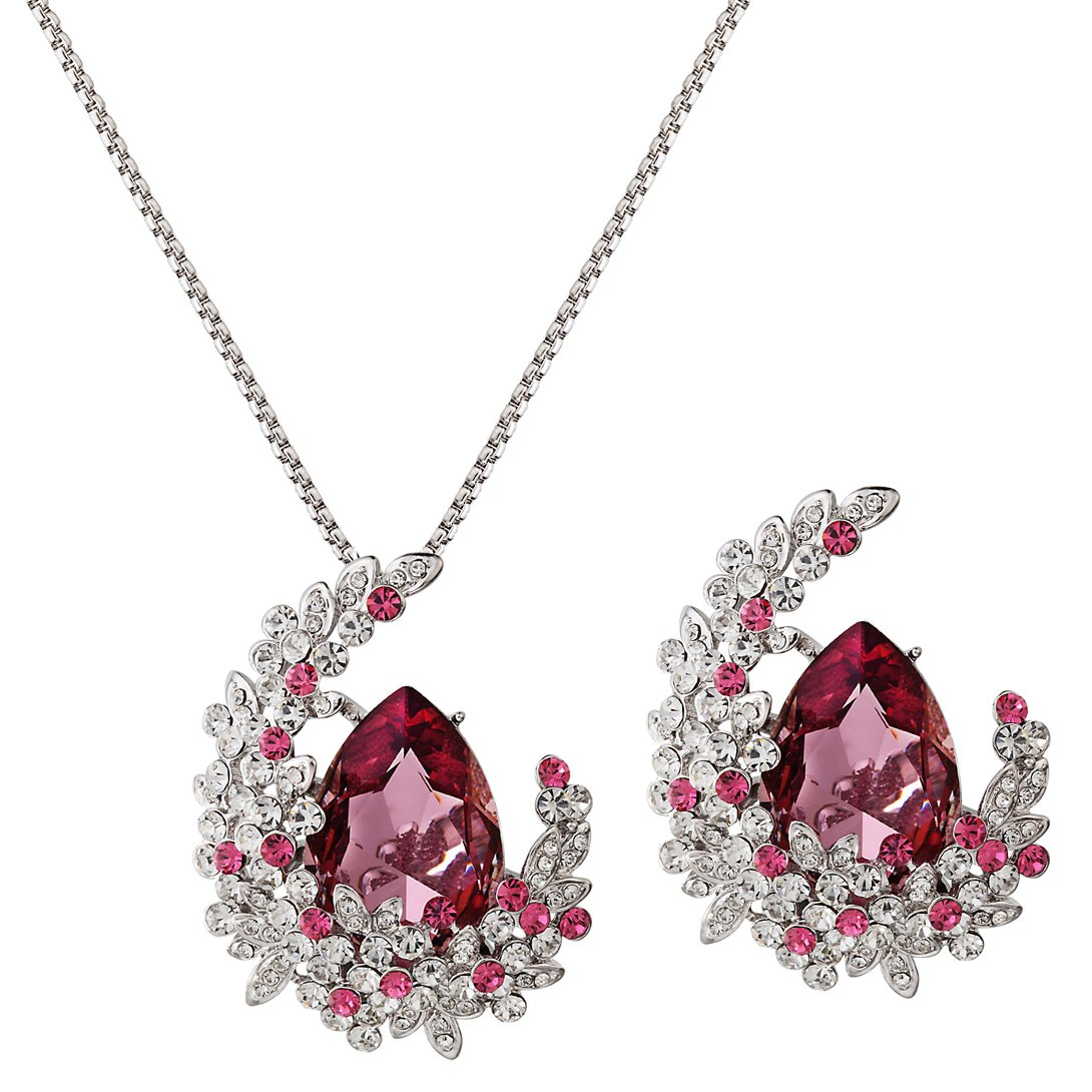 Swarovski Elements Antique Pink Brooch and Pendant Necklace Jewelry Set Rhodium Plated