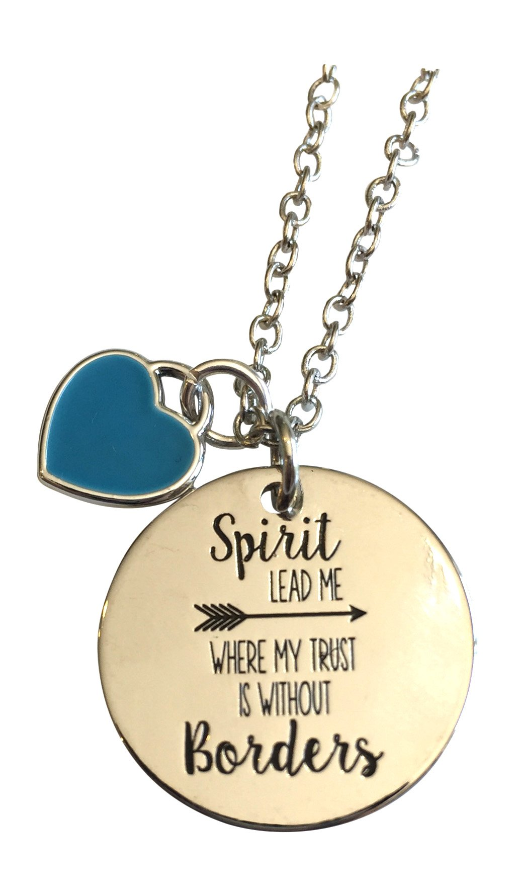 Spirit Lead Me Where My Trust Is Without Borders ~ Silver Plated Necklace with 22 inch Link Chain in Gift Linen Bag ~ Popular Christian Jewelry 2018