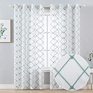 MIULEE Window Sheer Curtains 90 Inch Length Embroidered Diamond with Grommet Top Design Filtering Light Drapes for Living Room Bedroom, 2 Panels White Teal