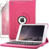 iPad Mini Case with Keyboard, Boriyuan Protective Folding Flip PU Leather Case Folio Stand Cover and Removable Detachable Wireless Bluetooth Keyboard for Apple iPad Mini 3/ iPad Mini 2 with Retina/ iPad Mini 7.9 inch Tablet with Elastic Strap Latch and Multi-angle 360 Degrees Rotating Stand Holder + Screen Protector + Black Stylus Pen - Hot Pink