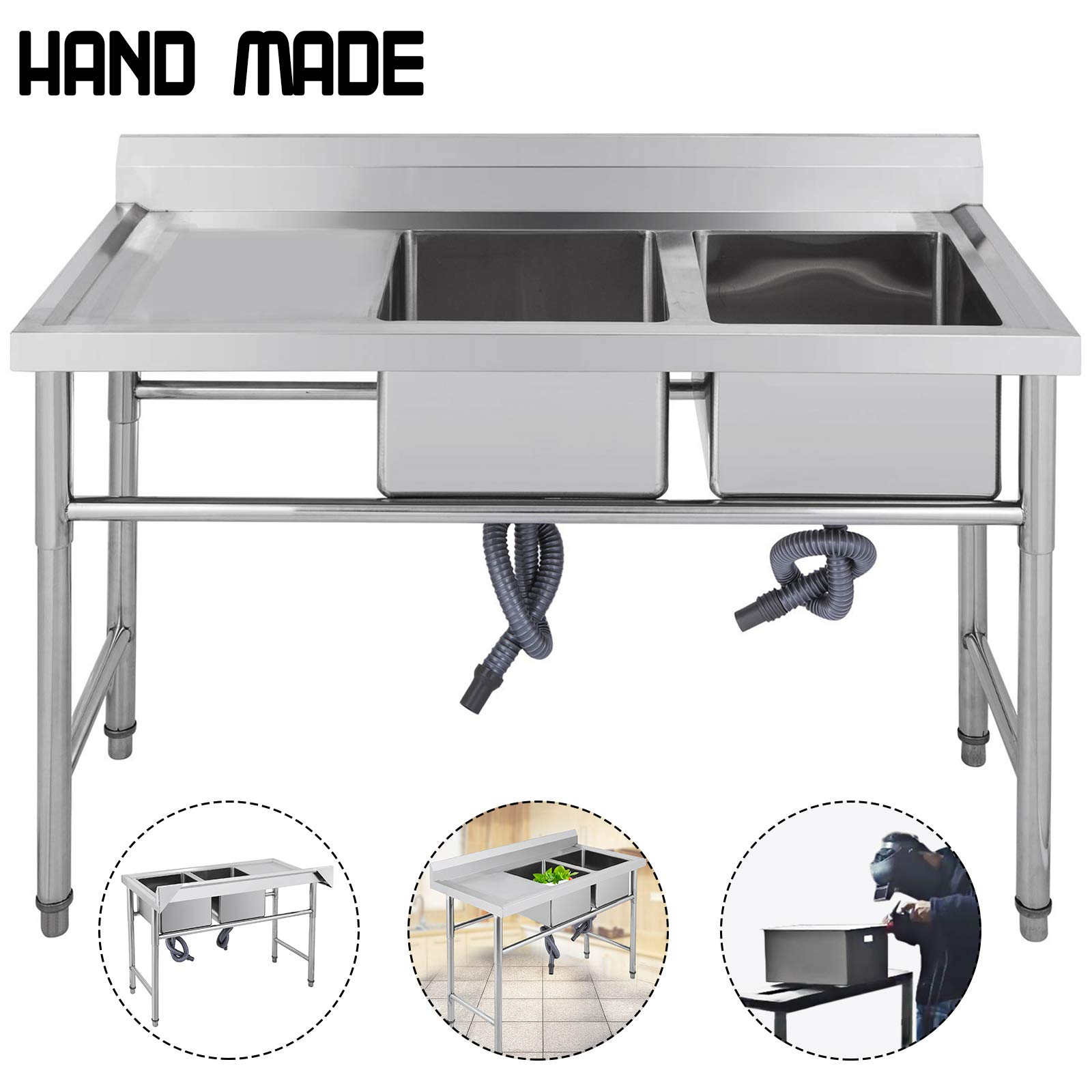 Mophorn Stainless Steel Bar Sink Commercial Standard Underbar Sink for bar kitchen restaurant (2 Compartment With Left Drainboard)