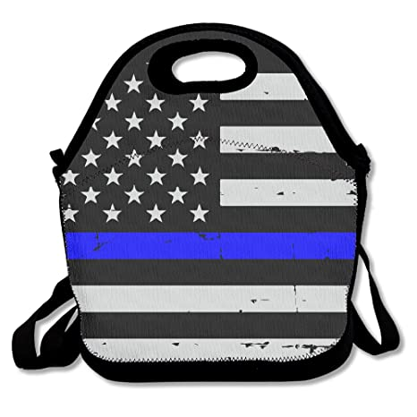 Delgada línea azul bandera americana bolsa para el almuerzo ...