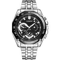 Hanylish Reloj para Caballeros, Cronógrafo, Diseño de Lujo, Acero Inoxidable, Impermeable, Movimiento de Cuarzo…