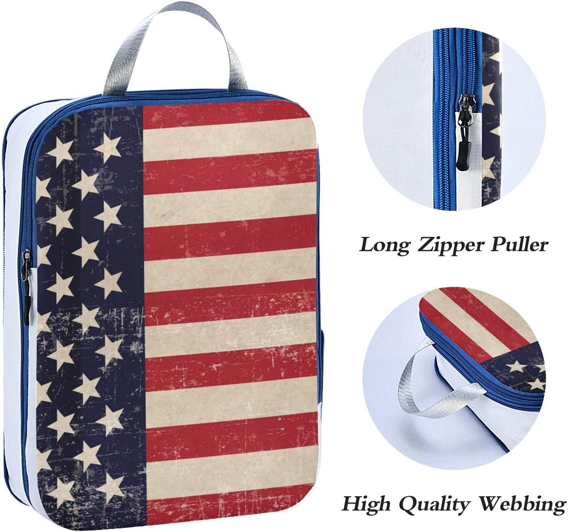 LUPINZ Patriotic Background Travel Luggage Packing Organizers 3 Pieces Travel Cubes