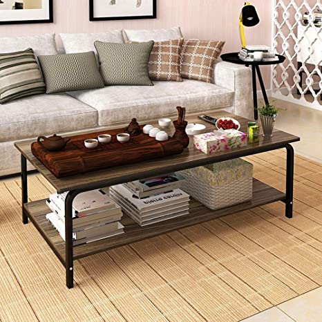 Ketteb Modern Home Coffee Table 2-Tier Cocktail Table with Storage Shelf for Living Room End Table/Side Table/Dining Table/Sofa & Console Tables/TV ...
