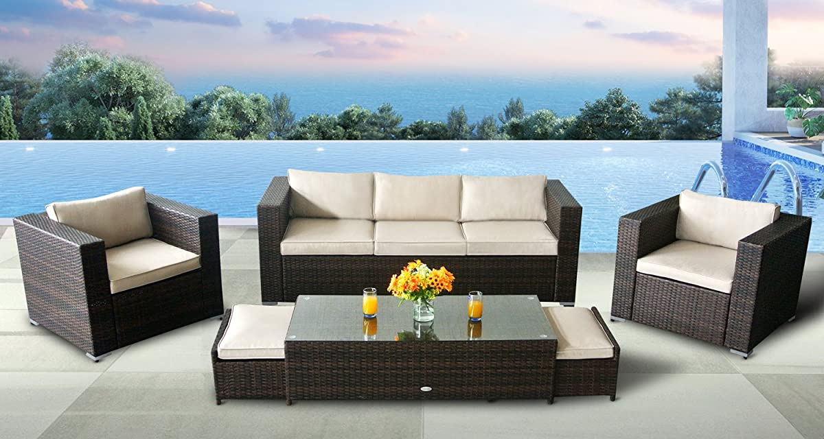 Oakside Outdoor Sectional Patio Furniture Sofa Set Modern Aluminum Rattan Wicker 6Pcs Couch Conversation Set w/Free Patio Cover,2 footrest can be stored away