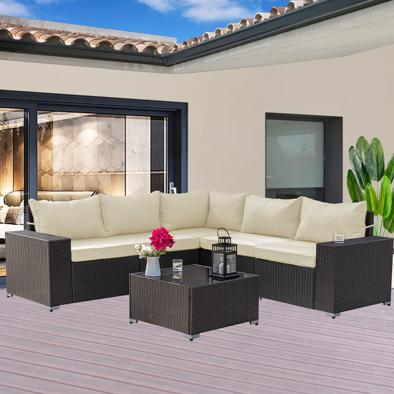 Gotland Outdoor Patio Furniture 6 Piece Patio Sofa Sets All-Weather Outdoor Sectional Furniture PE Wicker Backyard Deck Couch Conversation Chair Set with Coffee Table & 5 Thickened Cushions (Cream)