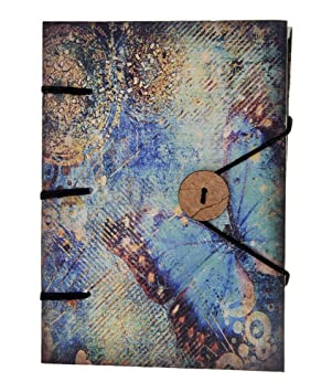 Craft Play Antique Binding Sparkling Butterfly Handmade Diary with Button  7 X 5 Inches Diaries