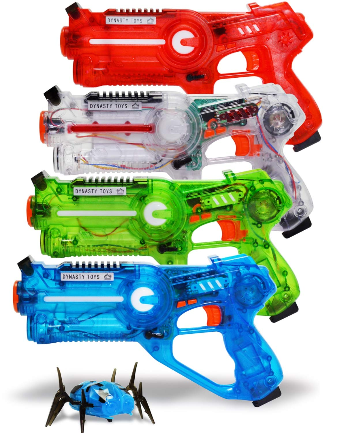 DYNASTY TOYS Family Laser Tag Set - 4 Laser Tag Blasters and 1 Target Robot Bug - Transparent Special Edition Blasters by DYNASTY TOYS