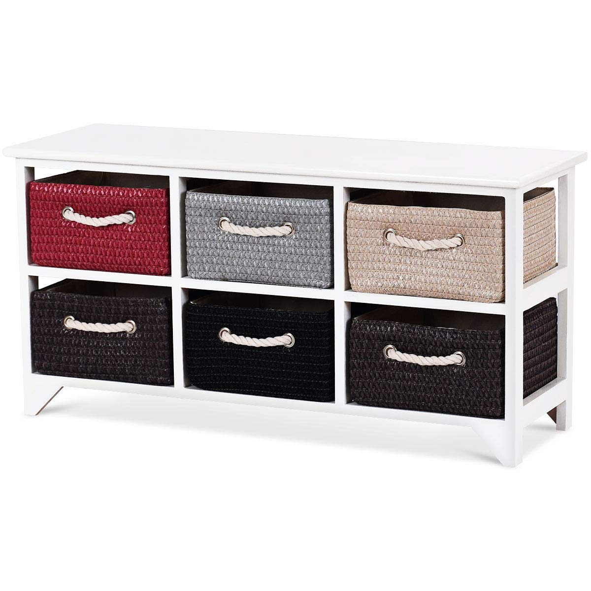 Amazon Com Seleq Mdf Wood Frame Drawer Chest With Baskets Home Kitchen