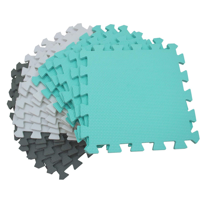 18pcs Soft EVA Interlocking Foam Floor Mats Children Yoga Exercise Jigsaw Puzzle Blocking Board Kids Playmats Tiles playmats Foam Play White Beige Purple 011011 meiqicool Foam Play Mat