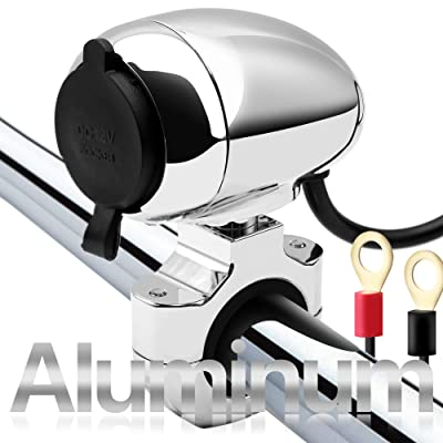 "GoHawk CA-1 Heavy Duty Chrome Aluminum Waterproof Motorcycle Cigarette Lighter Adapter Socket Power Charger Cable Ring Terminal For Harley 7/8-1 1/4"" Handlebar ATV UTV Smart Phone Camera GPS, 12V: Automotive"